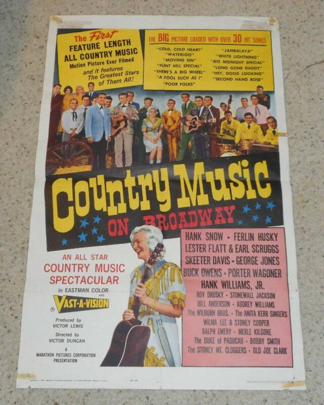 Vintage Original Country Music on Broadway One Sheet Movie Poster Hank Williams