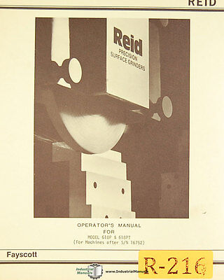 Reid 618p And 618pt Surface Grinder Parts Manual 1965