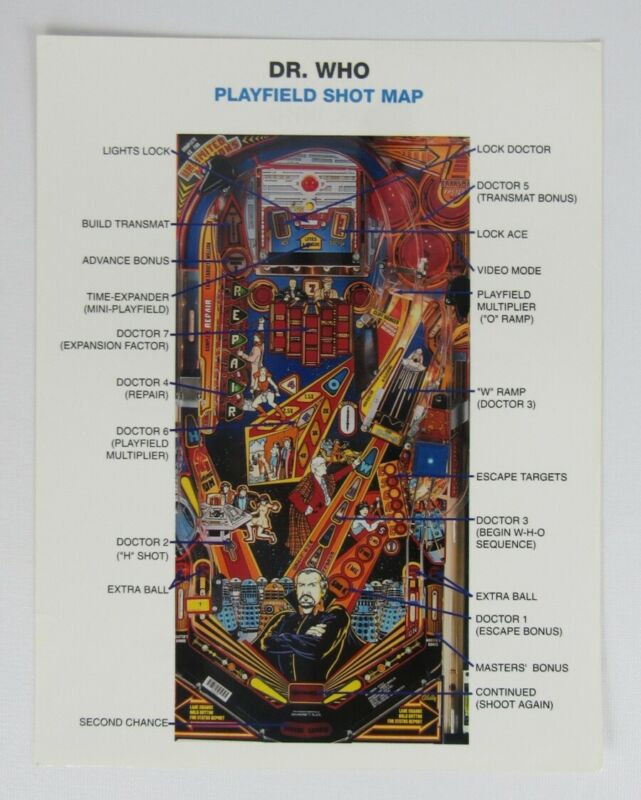 Bally Dr. Who Pinball Playfield Shot Map Flyer