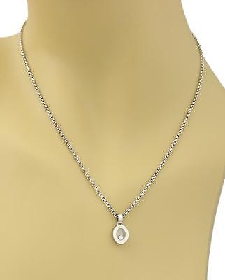 Chopard Happy Diamonds Oval Pendant Necklace in 18k White Gold