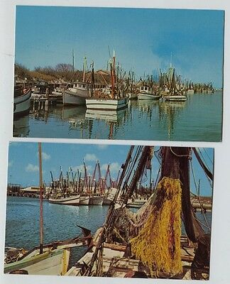 2 Vintage Shrimping Boats Gulf Coast Texas  Postcards