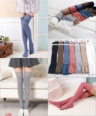 Strümpfe Leggings (Neu Damen Kniestrümpfe Trachtensocken Strümpfe Leggings Überknie Overknee Socken)
