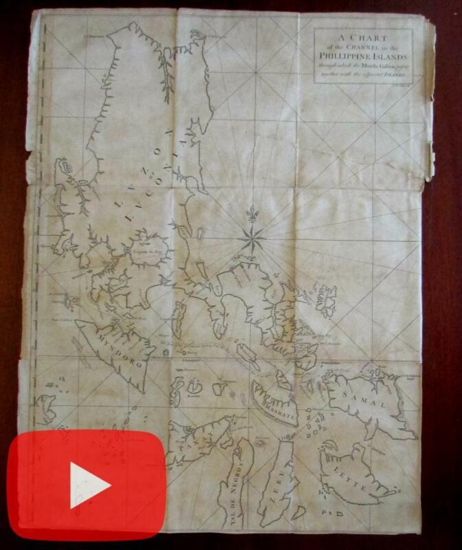 Philippine Islands Manila Galeon ship tracks 1748 large Seale map scarce
