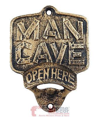 Man Cave Plaque Open Here Beer Bottle Opener Rustic Cast Iron Wall Mount Copper