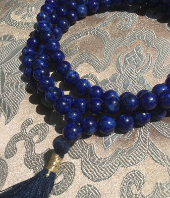 Mala Prayer Beads Made of Lapis Lazuli from Afghanistan 8 mm Nepal! Best Quality