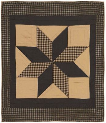 Blanket Throw Quilted Black Tan Feathered Dakota Star Patchwork Wall -