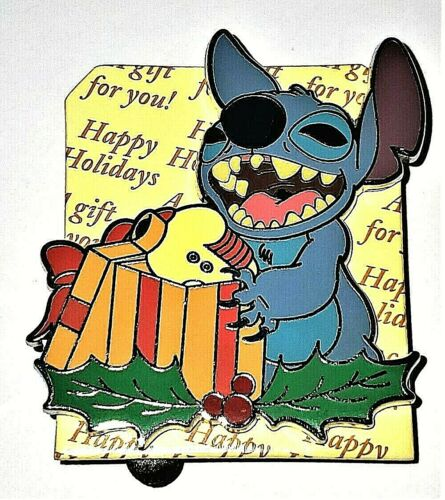 Disney Parks Happy Holiday Gift Stitch LE 4000 Pin.