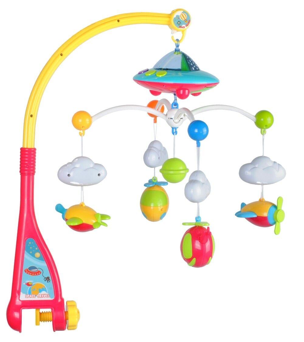 Baby Mobile Flugzeuge mit Fernbedienung Licht Projektor Spieluhr Karussell 4478