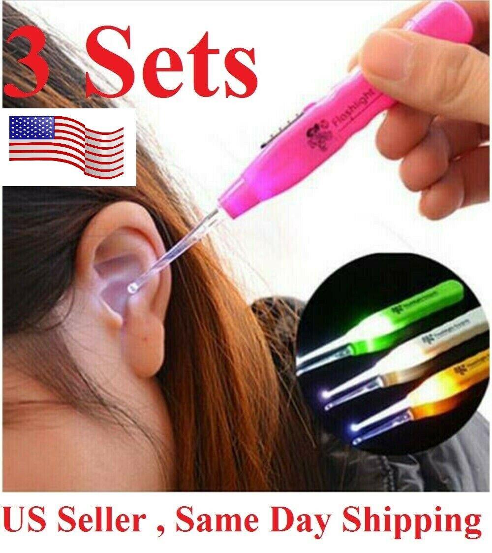 3pcs Cleaning Set  Care Tool led Ear Pick Ear Wax Remover Cleaner earpick Kit Health & Beauty