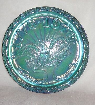 United States Bicentennial Blue Carnival Glass Plate 1776-1976 Indiana  Eagle