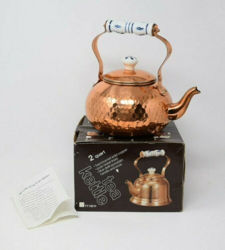 Unused w Box Vintage COPPER TEA KETTLE SOLID COPPER w CERAMIC HANDLE & KNOB 2QT