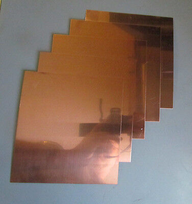 5 Pack Of 99.99 Pure Copper Sheet Plate 16 Oz .025 6x6