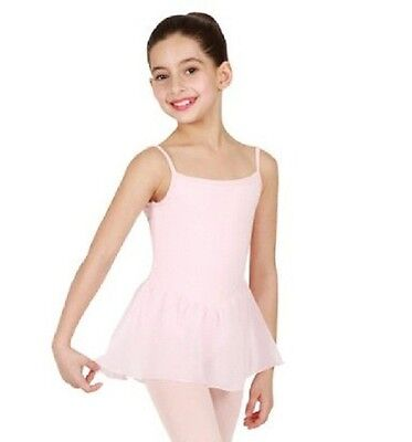 Bloch CL5407 Girl's 12 (Large) Pink Camisole Leotard Footed Tights And Skirt
