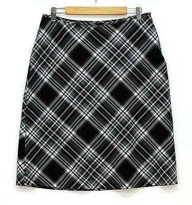 TRÈS YOU Women's Plaid Midi Straight A-line Skirt Size 12 Black/Gray Side Zip