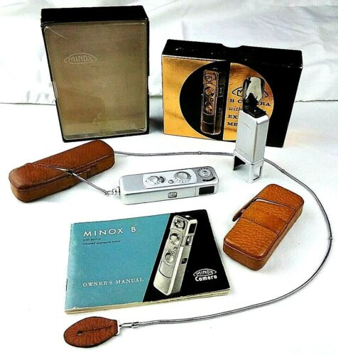 GMinox B Subminiature Film Camera in Box with Flash Attachment & Cases (Metric)