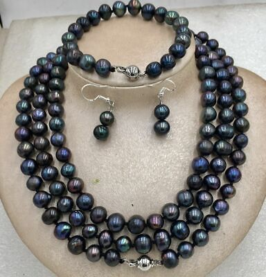 48inch 9-10MM TAHITIAN NATURAL BLACK PEARL NECKLACE Bracelet Earring 2019 New