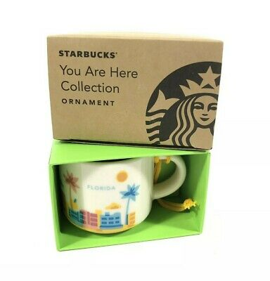 Starbucks You Are Here Mug Cup Ornament Florida FL 2oz 2018 Retired New In Box