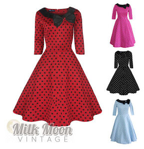 Vintage-Dress-1950s-1960s-Party-Red-Black-Polka-Dot-Sleeve-Collar-Size-UK-6-26