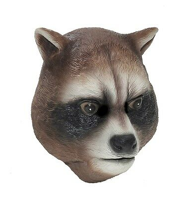 Raccoon Mask Brown Animal Racoon Rodent Halloween Dress Up Latex Face One Size (Raccoon Mask)