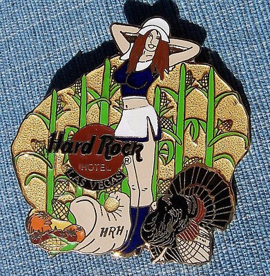 LAS VEGAS HOTEL HRH THANKSGIVING GIRL TURKEY BIRD CORN FIELD Hard Rock Cafe PIN