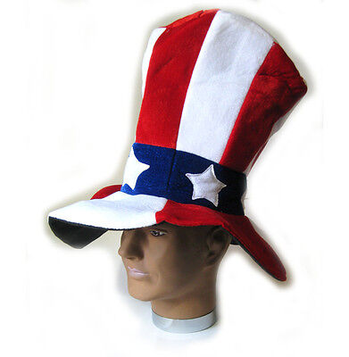 Uncle Sam American Flag Four of July Large Red White Blue Adult Costume Top Hat