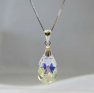 Sterling-Silver-Swarovski-Elements-Crystal-Clear-AB-Teardrop-Pendant-Necklace