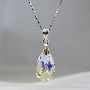 Sterling-Silver-Swarovski-Elements-Crystal-Clear-AB-Teardrop-Pendant-Necklace