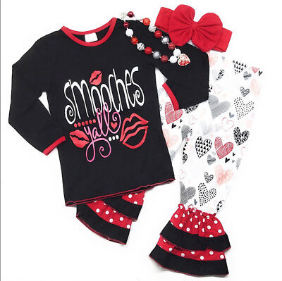 Kids Valentines Outfits (Valentine's Day Smooches Baby Toddler Girl Boutique Outfit Kids Clothing Infant)