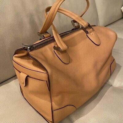 Valextra Medium Boston Handbag Cream Leather Satchel - pre-owned
