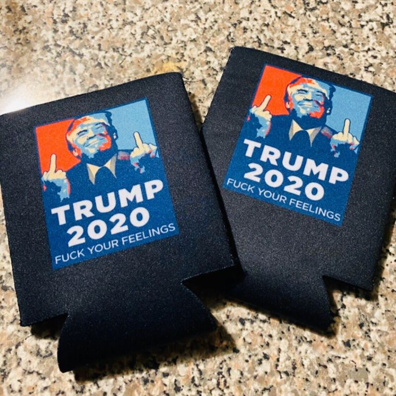 TRUMP 2020 KooZies Lot 2 Black Can Cooler Coozie