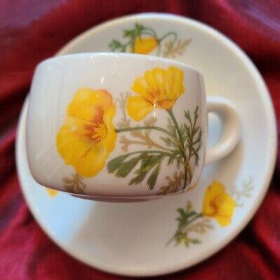 Santa Fe Railroad Dining Car Cup & Saucer California Poppy by Syracuse