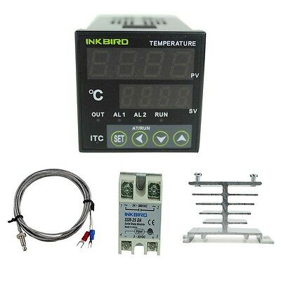 Digital Pid Temperature Temp Controller 220v K Sensor Ssr 25a Heat Sink Onoff