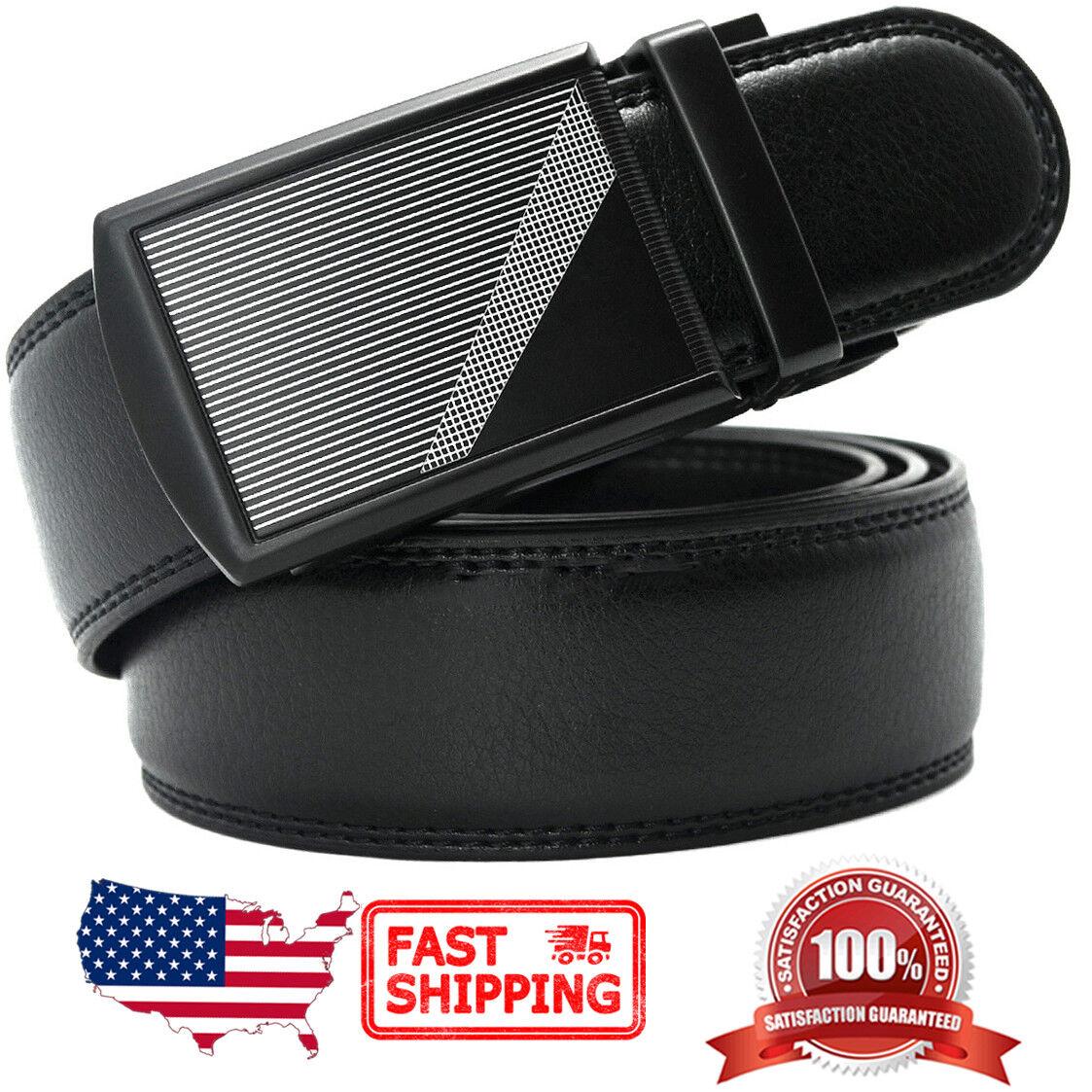 Men's Genuine Leather Adjustable Automatic Buckle Ratchet Dress Belt Belts