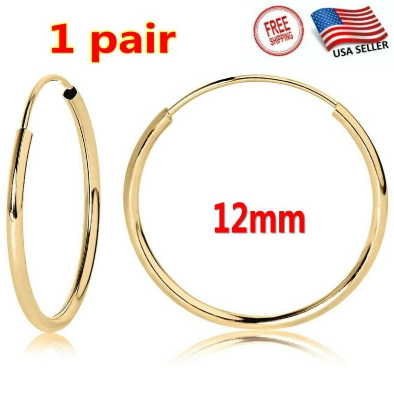 Unisex 2x 14K Yellow Gold Endless Tubular Hoop Earrings Continuous Endless Hoops