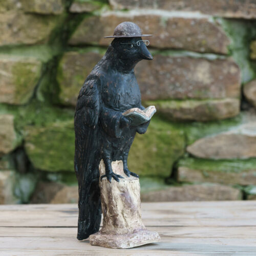 "Ragon House Paper Mache Smart Crow 12.5"" Primitive Halloween Decor"
