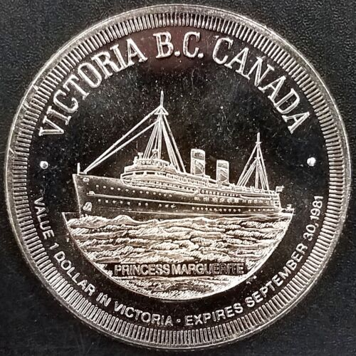 "Victoria B.C. Canada, Trade Dollar, ""City of Gardens"" token! 33 mm!"