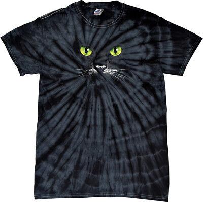 Halloween T-shirt Black Cat Spider Tie Dye Tee
