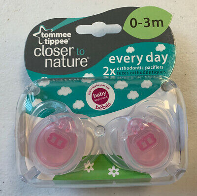 Tommee Tippee Pacifiers PINK Orthidontic 0-3 Months Baby Two Pack 2x Every Day