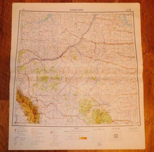 Authentic Soviet Russian Military Topographic Map Rapid City, South Dakota USA