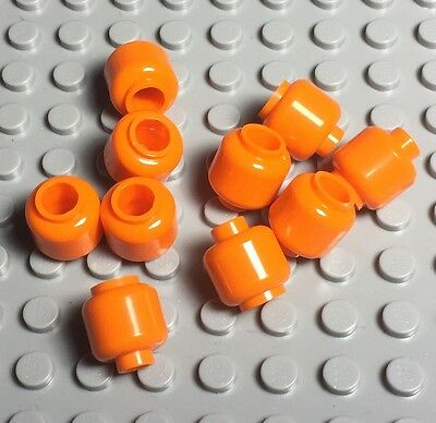 Lego X10 New Orange Plain Head,Mini Figures Halloween Pumpkin Parts Lot](Halloween Part 10)