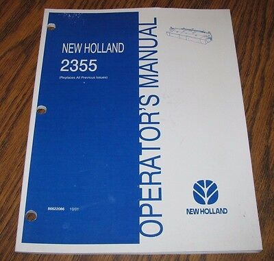 New Holland 2355 Discbine Disc Auger Header Operators Owners Manual Issued 2001