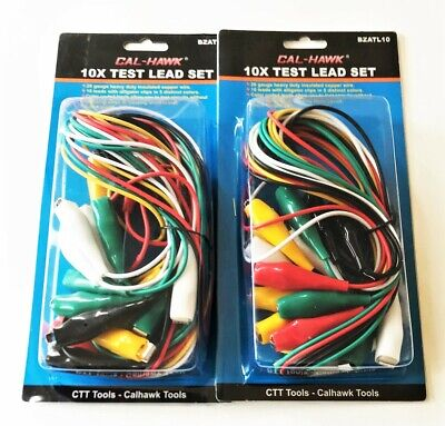 20pc Large Wire Test Leads 34 Alligator Clip Jumper Wire Multi Color Bzatl10