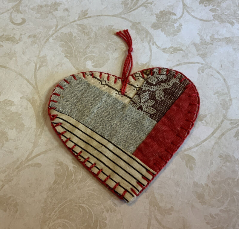 Christmas Ornament, Heart Shape, Antique Patchwork Quilt, Early Calico Prints