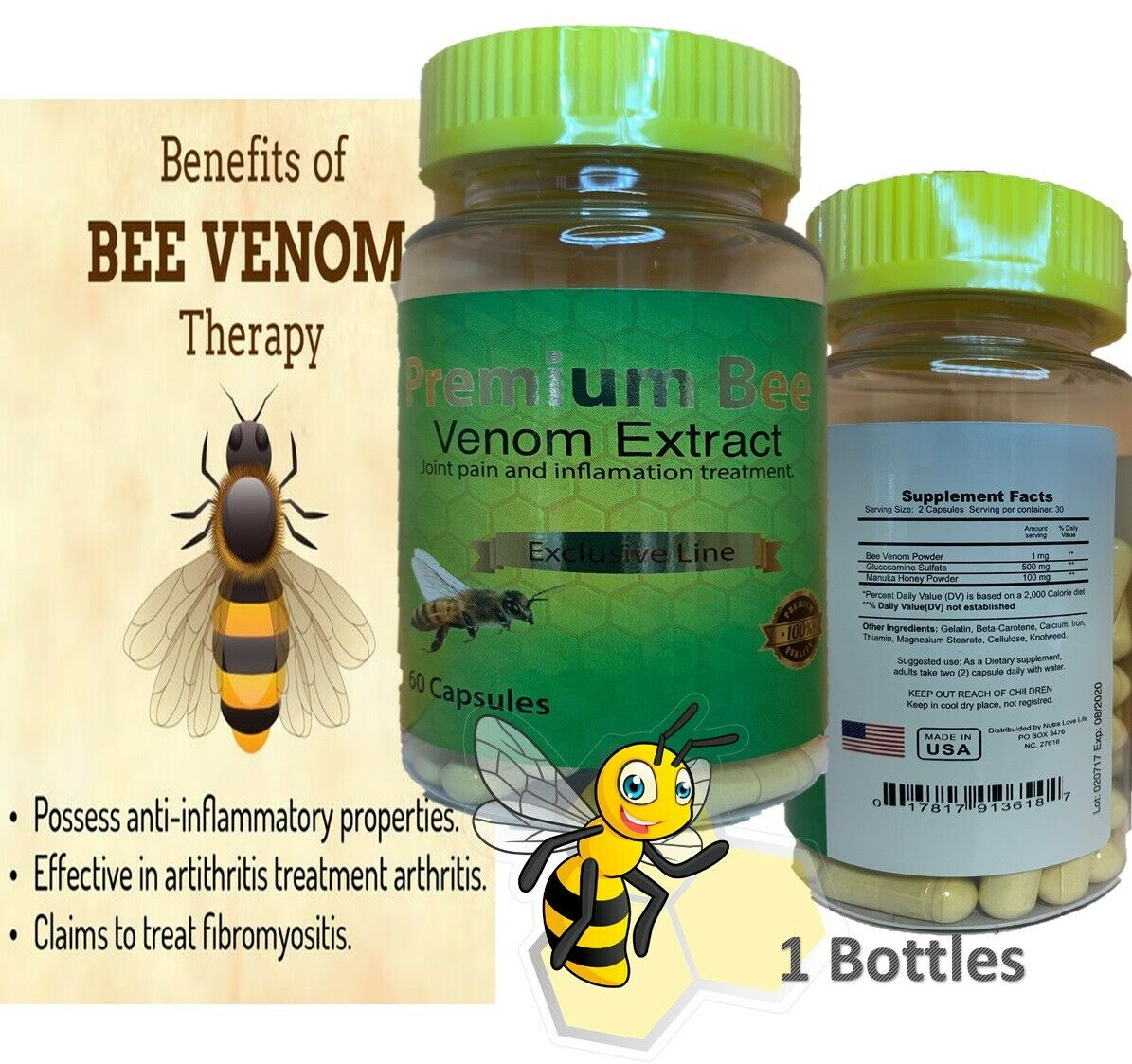 Natural Bee Venom Extract Abeemed Arthritis Pain Therapy Cure Pain Pure Bee 60 C 1
