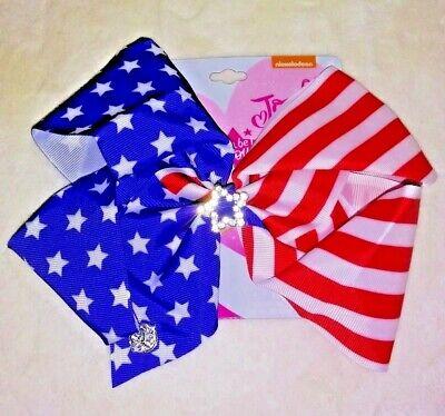 Girls JoJo Siwa Limited Ed. American Flag Red White Blue Patriotic Bow 4th July