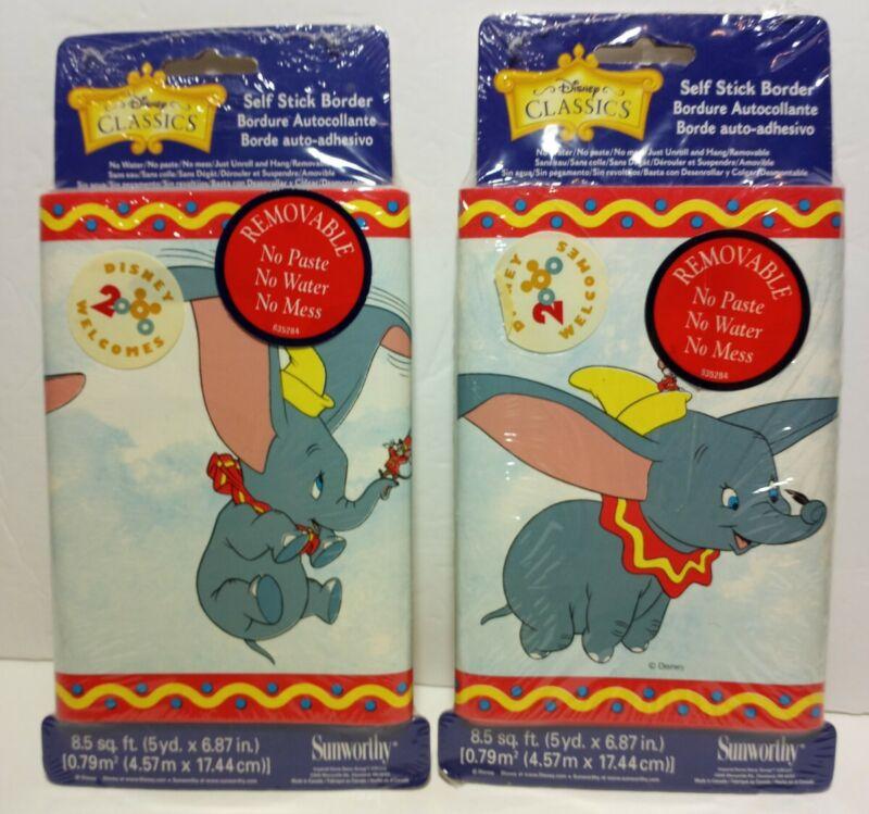 DUMBO Disney self STICK WALLPAPER BORDER Child childrens room 5yd each lot of 2