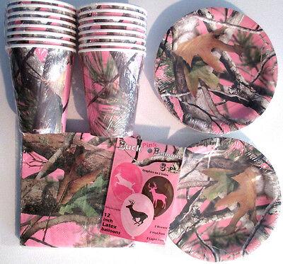 Pink Jagd Camo Geburtstagsparty Lieferungen Packung mit / Teller, Servietten,