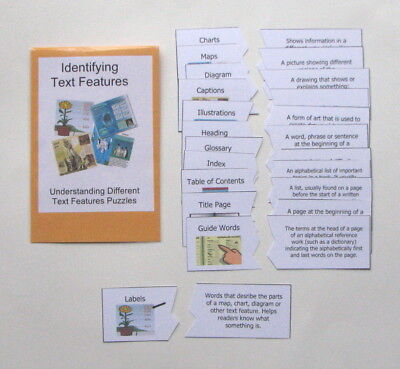 Teacher Made Literacy Center Activity Game Identifying Different Text Features