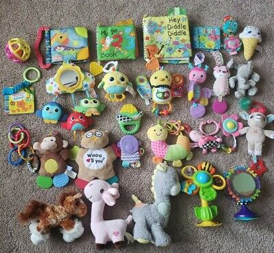 lot infant baby teething sensory discovery rattle stuffed play toys animals 35