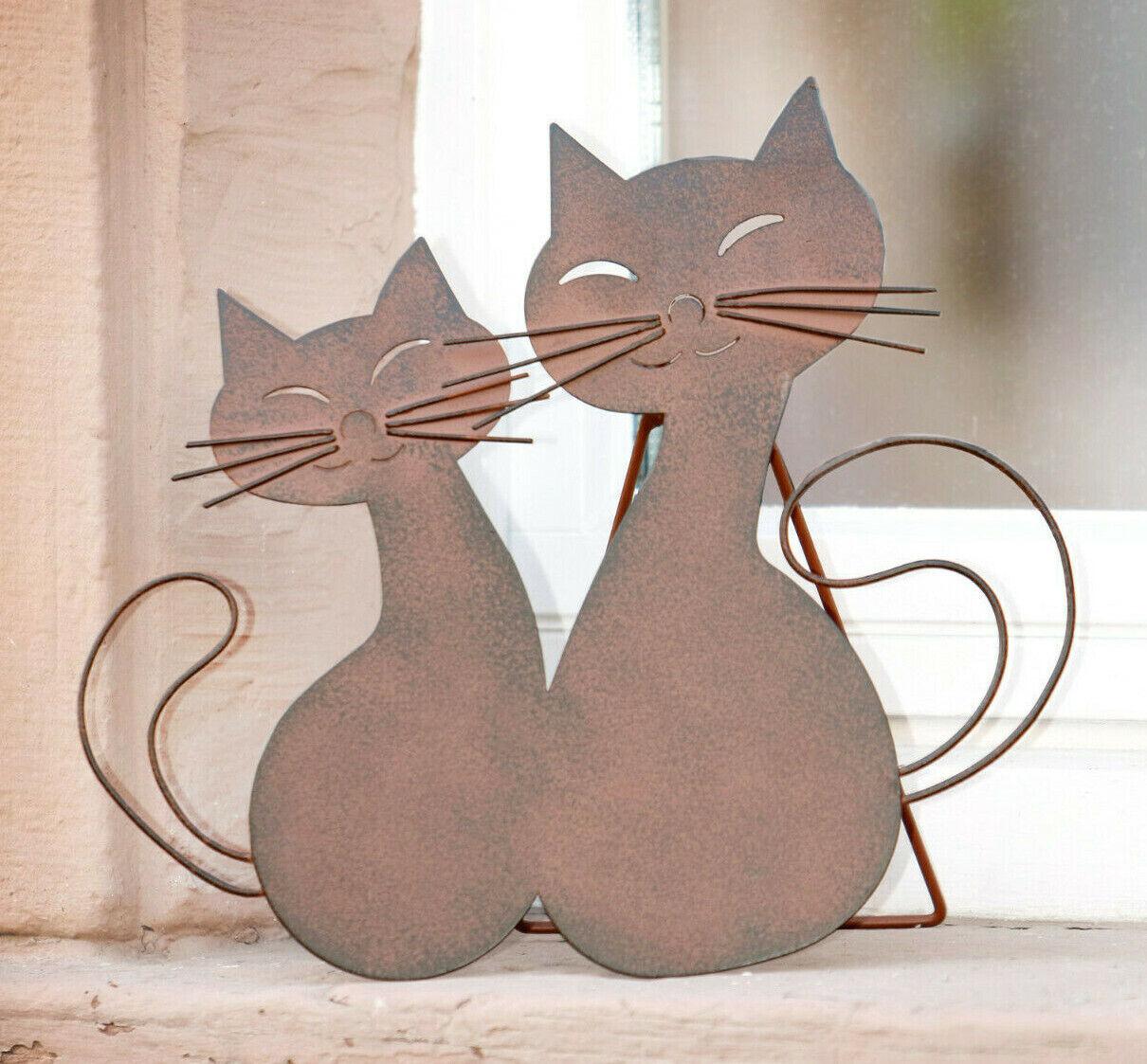 Metall Deko Katzenpaar, Gartenstecker, Rostoptik, Schimmerkatze mit Ständer